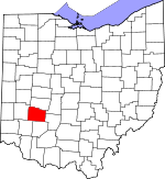 Map of Ohio showing Greene County
