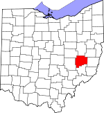 Map of Ohio showing Guernsey County
