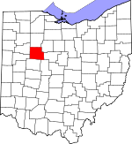 Map of Ohio showing Hardin County