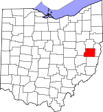 Map of Ohio showing Harrison County