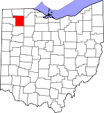 Map of Ohio showing Henry County