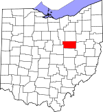 Map of Ohio showing Holmes County
