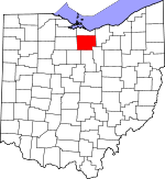 Map of Ohio showing Huron County