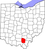 Map of Ohio showing Jackson County