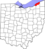 Map of Ohio showing Lake County