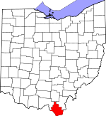 Map of Ohio showing Lawrence County