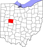 Map of Ohio showing Logan County