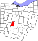 Map of Ohio showing Madison County