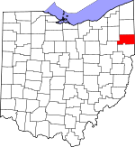 Map of Ohio showing Mahoning County