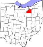 Map of Ohio showing Medina County