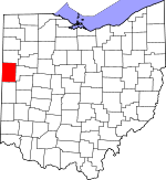 Map of Ohio showing Mercer County