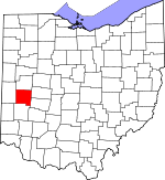 Map of Ohio showing Miami County