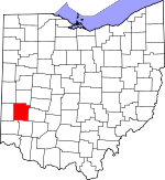 Map of Ohio showing Montgomery County