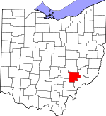 Map of Ohio showing Morgan County