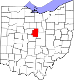Map of Ohio showing Morrow County