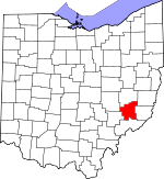 Map of Ohio showing Noble County