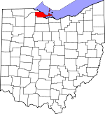Map of Ohio showing Ottawa County