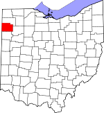 Map of Ohio showing Paulding County