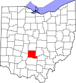 Map of Ohio showing Pickaway County