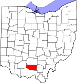 Map of Ohio showing Pike County