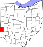 Map of Ohio showing Preble County