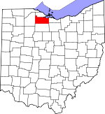 Map of Ohio showing Sandusky County