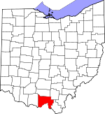 Map of Ohio showing Scioto County