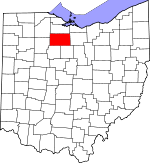 Map of Ohio showing Seneca County