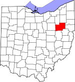 Map of Ohio showing Stark County