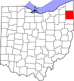 Map of Ohio showing Trumbull County