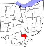 Map of Ohio showing Vinton County