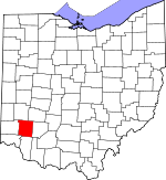 Map of Ohio showing Warren County