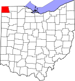Map of Ohio showing Williams County