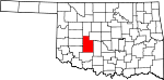 Map of Oklahoma showing Caddo County