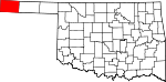 Map of Oklahoma showing Cimarron County