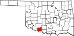 Map of Oklahoma showing Cotton County