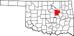 Map of Oklahoma showing Creek County