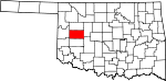 Map of Oklahoma showing Custer County