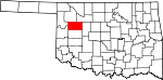Map of Oklahoma showing Dewey County