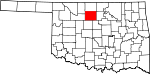 Map of Oklahoma showing Garfield County