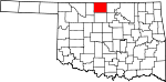 Map of Oklahoma showing Grant County