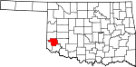 Map of Oklahoma showing Greer County