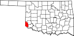 Map of Oklahoma showing Harmon County