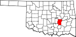 Map of Oklahoma showing Hughes County