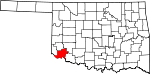 Map of Oklahoma showing Jackson County