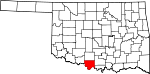 Map of Oklahoma showing Jefferson County