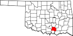 Map of Oklahoma showing Johnston County