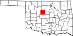 Map of Oklahoma showing Kingfisher County