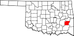 Map of Oklahoma showing Latimer County