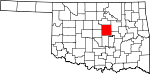 Map of Oklahoma showing Lincoln County